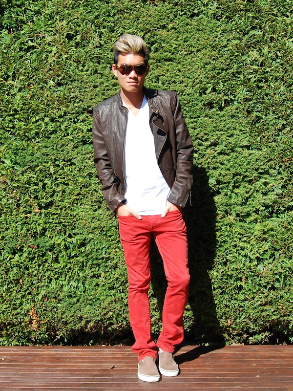 Red jeans and leather jacket