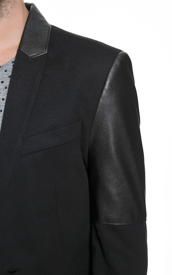 Zara Blazer With Faux Leather Sleeves detail