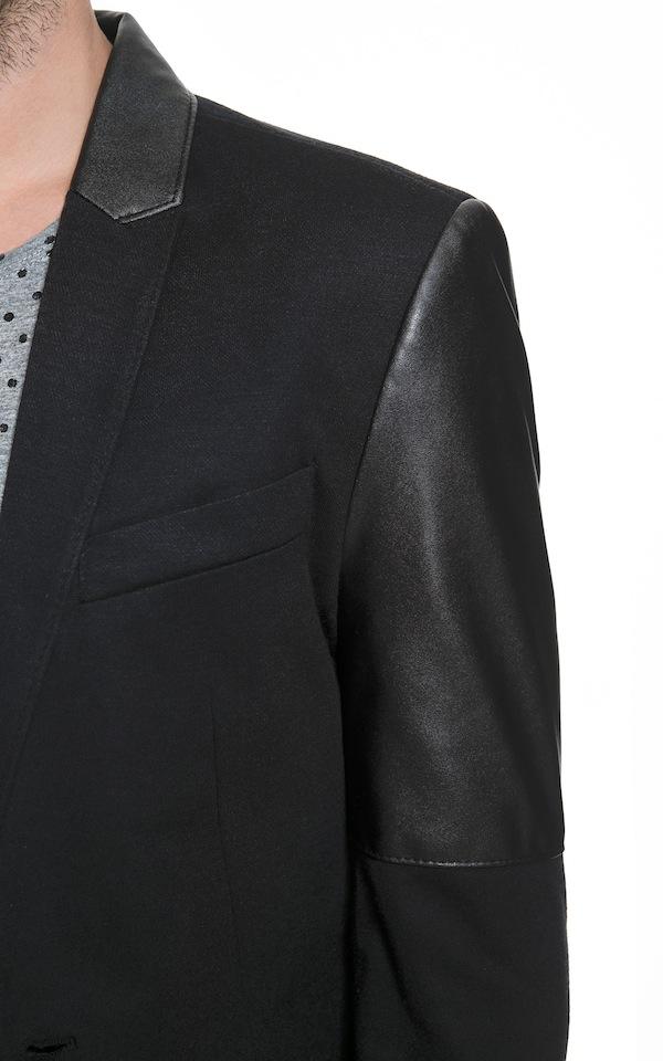 Zara Blazer With Faux Leather Sleeves detail