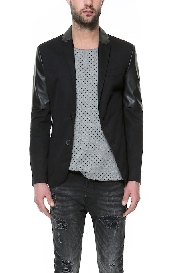 Zara Blazer With Faux Leather Sleeves
