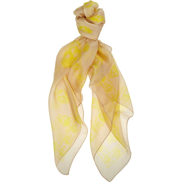 Currently Coveting: Alexander McQueen Maize/Yellow Skull Scarf