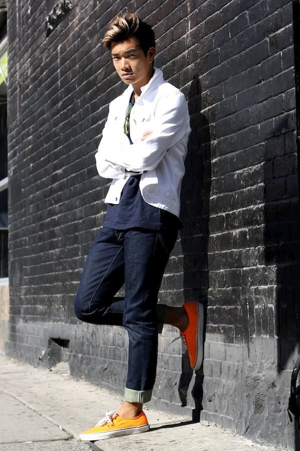 mens white vans with suit