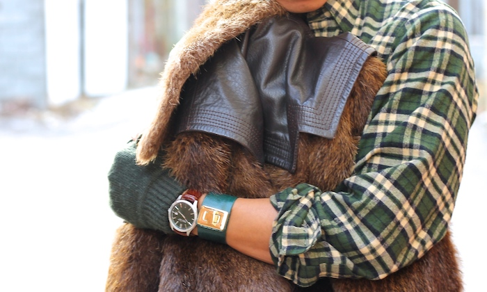 mens style green plaid fur