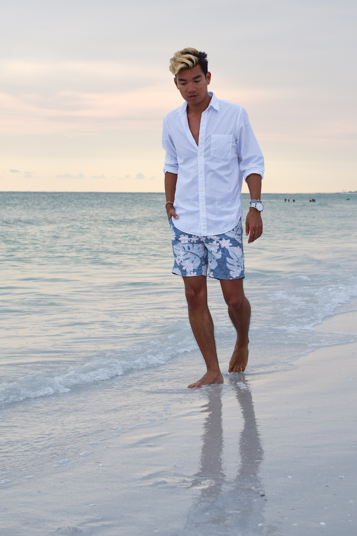 siesta key beach sunset alexander liang mens style 03