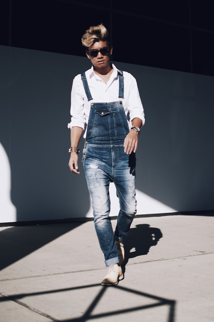 Top colors For denim overalls for men Beige denim overalls for men Gray denim overalls for men Brown denim overalls for men Silver denim overalls for men denim overalls that buckle over the shoulders for the ultimate in utility style. Unusually for a menswear trend, denim overalls are all about ease. They fit comfortably over shirts and.