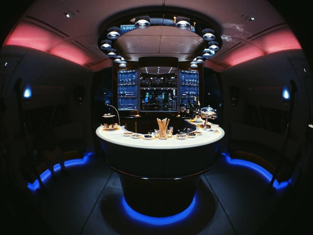 emirates business class bar lounge