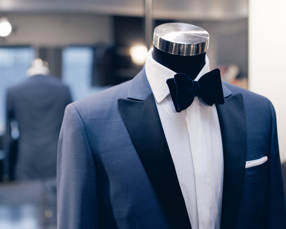 mens blue suit velvet bowtie