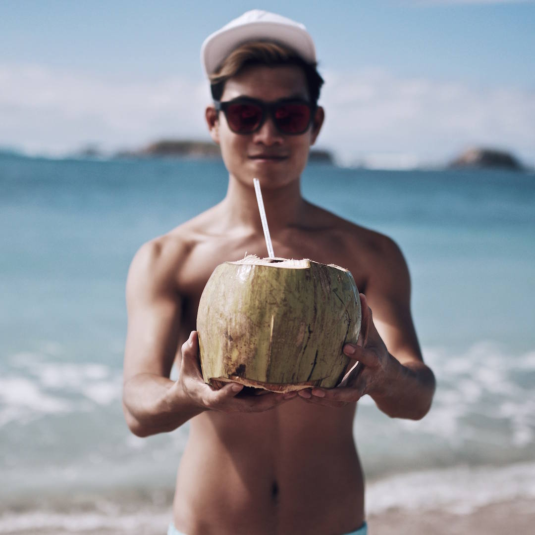 fresh coconut on the beach