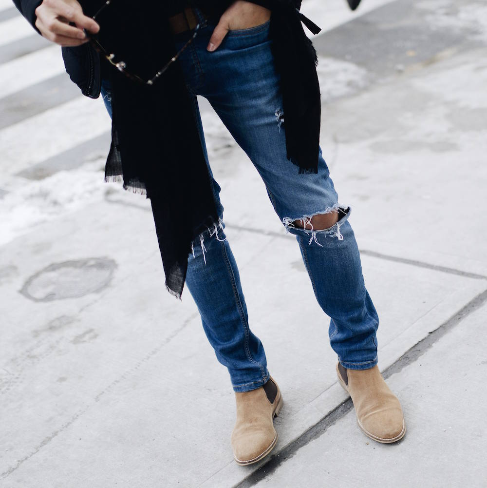ripped jeans chelsea boots