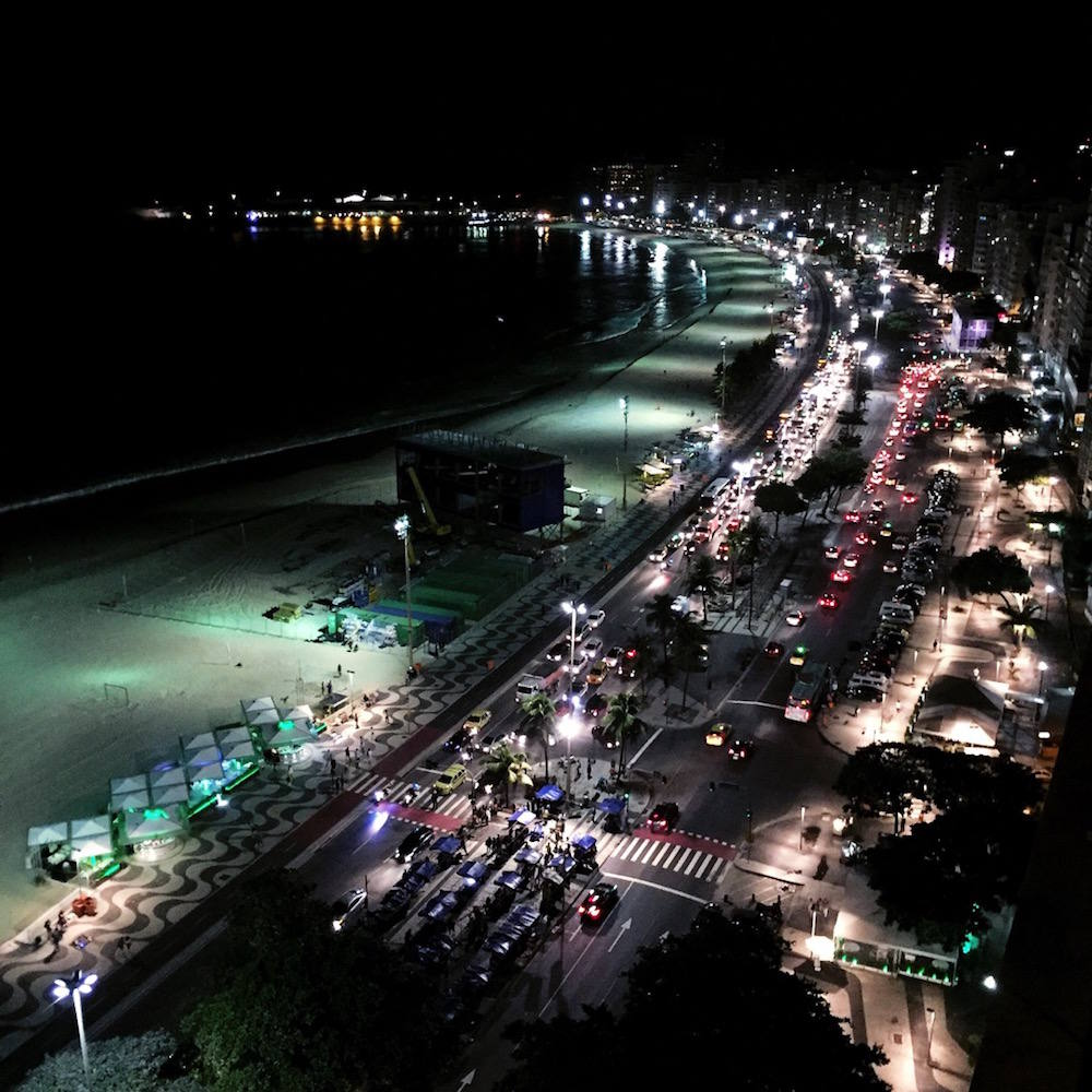 copacabana beach night lights