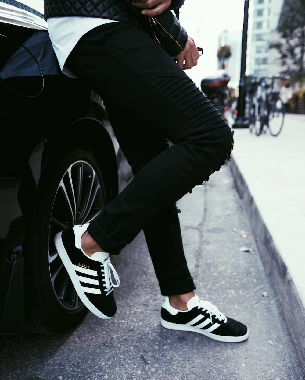 mens black adidas gazelles